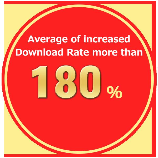 Average of increasing Download Rate more than 180%